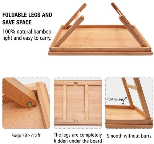 Zhuoyue Bamboo Multi-purpose Bed Breakfast Tray with Legs