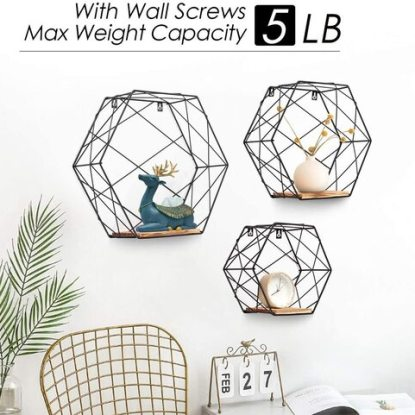 AGSIVO Decorative Wall Mounted Hexagon Shelves with Durable Iron Line, Hanging Holes and Wooden Board