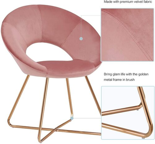 Duhome Elegant Lifestyle Pink Accent Chair with Premium Velvet Fabric and Golden Finished Legs