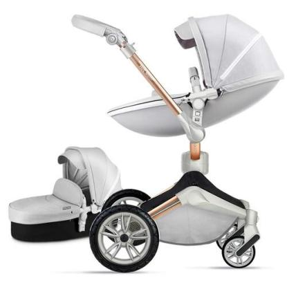 Hot Mom Pu Leather 360° degrees Rotating Baby Stroller