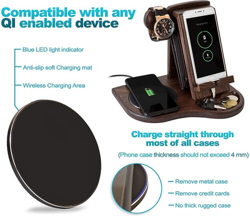 TESLYAR wood phone docking station with two charging modes