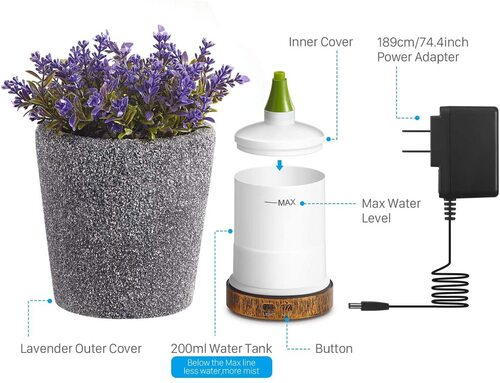 AIGOCEER Decorative Essential Oil Diffuser with lavender outer cover