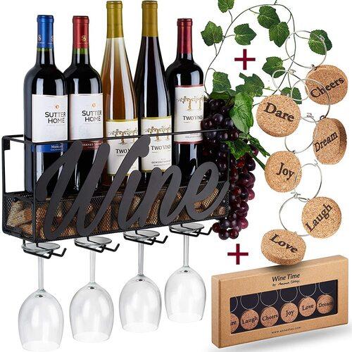 Anna Stay Wine Lovers Gift Idea Metal Wall Mounted Wine Rack Bottle Holder