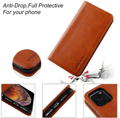 Visoul iPhone 11 Pro Max Leather Wallet Case with 3 credit card slots and 1 cash compartment