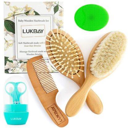 LUKBAY Baby Wooden Hairbrush Set and Grooming Kit