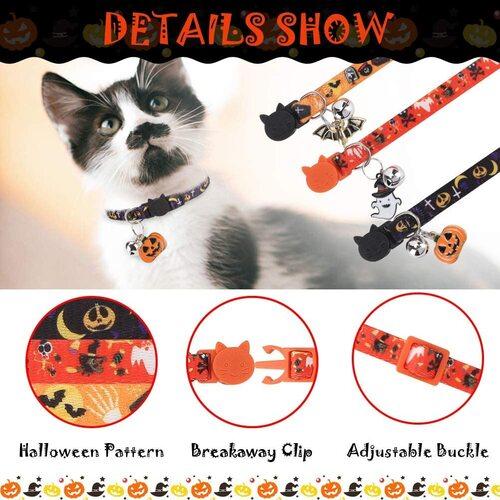 EXPAWLORER 3 pcs Halloween Cat Collar with Jingle Bell