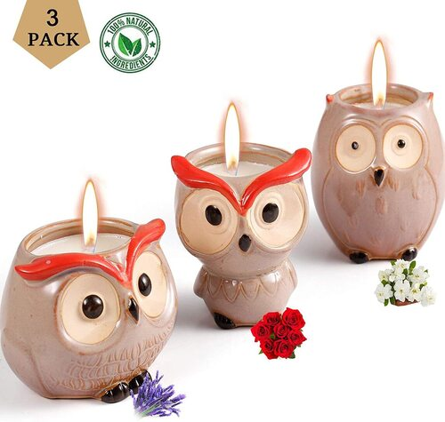 Hsuner 3 pcs Pure Soy Wax Scented Owl Shape Candles