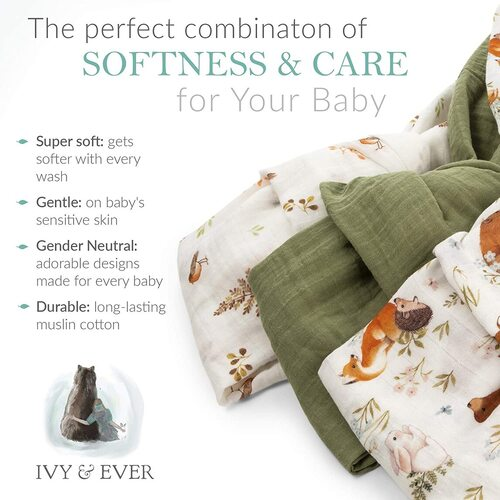 Ivy & Ever neutral designs organic cotton muslin swaddle blankets