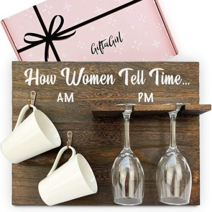 GIFTAGIRL Wall Hanging Paulownia Wood 'Tell Time' Rack for Two Wine Glasses and Two Mugs