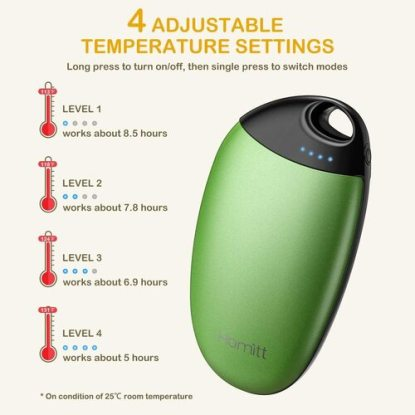 HOMITT Compact and Portable Hand Warmer with 4 Temperature Settings