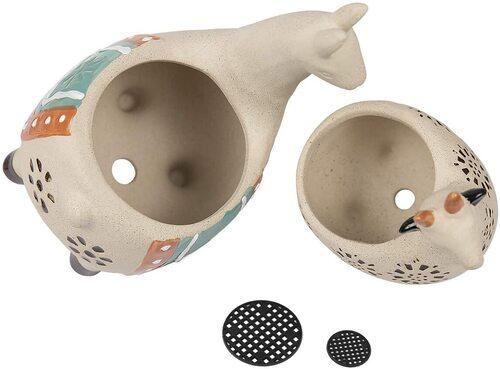 LA JOLIE MUSE 2 pieces Ceramic Animal Succulent Plant Pots with Drainage