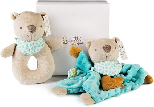 Little Tinkers World Baby Security Blanket & Cute Stuffed Bear Rattle Newborn Shower Gift