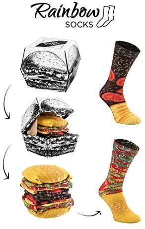 Rainbow Socks 2 pairs Funny Burger Novelty Socks Gift Set for Men's