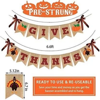 Raleyooze Premium Burlap ''Give Thanks'' Turkey and Pumpkin Printed Thanksgiving Banner