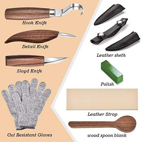 WAYCOM 12 piece Wood Carving Knifes Kit with Cut Resistant Gloves