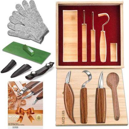 WAYCOM 12 piece Wood Carving Knifes Kit