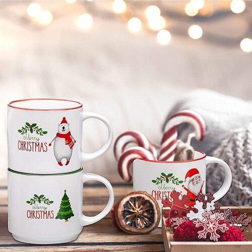 Bruntmor 14 oz Christmas coffee mug with fun holiday characters and designs