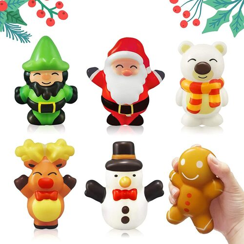 Heytech 6pcs Christmas different characters Squshies Toys Gift Set