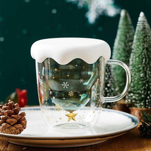 Marbe Christmas Glass Coffee Mug with Snowflake Lid Gift Set