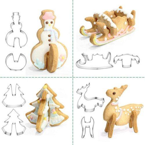 PHIAKLE 3D Christmas 8 shapes cookie cutter set
