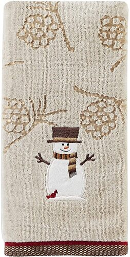 SKL Home by Saturday Knight 2 pcs Christmas Snowman Decorative Cotton Towels