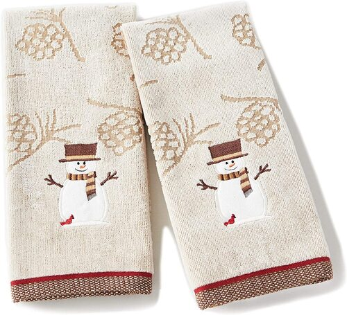 SKL Home by Saturday Knight 2 pcs Christmas Snowman Hand Cotton Towel