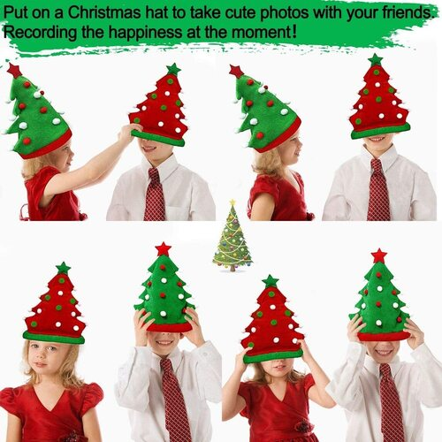 TURNMEON Novelty Christmas Hat Set includes 2pack Christmas tree hats