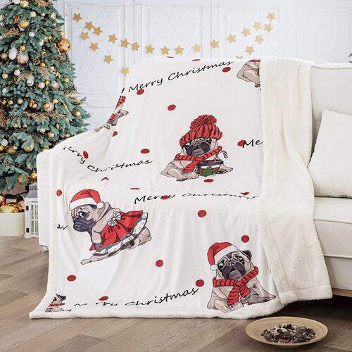 WONGS BEDDING 460 GSM Christmas Pug Printing Decorative Throw Blanket
