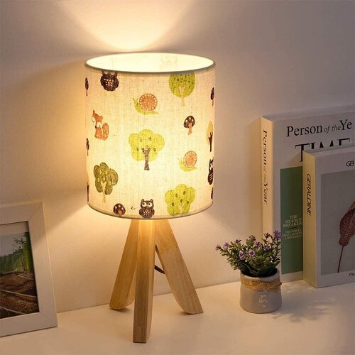 HAITRAL Tripod Table Lamp for Children bedroom with Wood Base and Fabric Lampshade