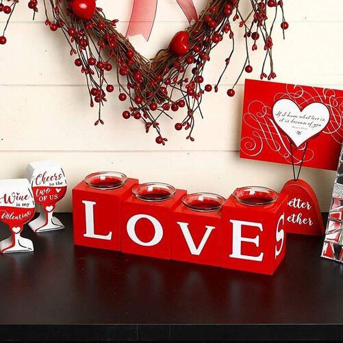 Glitzhome Valentine's Day LOVE, XOXO, HUGE, KISS letter wooden standing decor