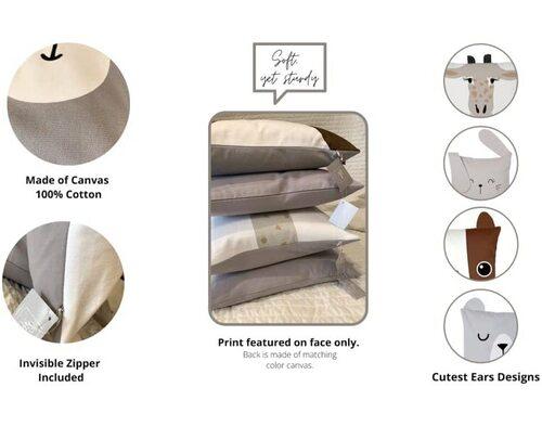 RainMeadow 4pcs 100% Cotton Animal-shaped Pillow Covers for Kids Room Decor