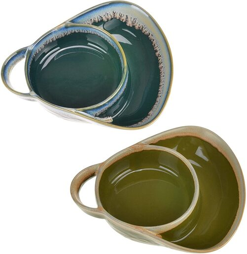 Roe and Moe's 2pcs stoneware bowl with 2 sections for serving