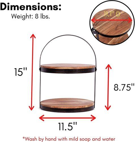 BirdRock Rustic 2-Tier Wood and Metal Desserts Stand
