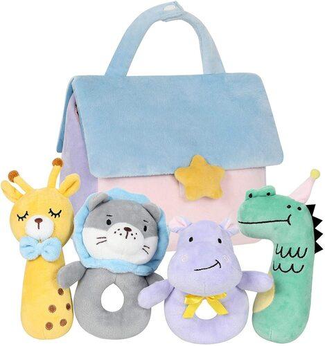 TILLYOU 4 pcs Adorable Animals Soft Baby Plush Rattles Toys Gift Set