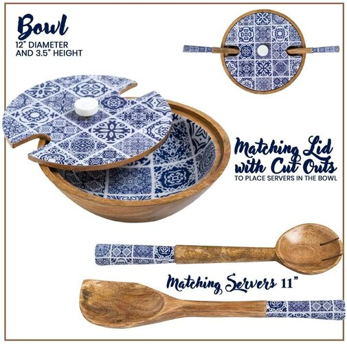 Willow and Moore Beautiful Moroccan Blue Wooden Salad Bowl