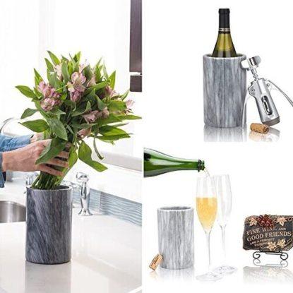 Wine Chiller Elegant Grey Marble Wine Bottle Cooler by Modern Innovations