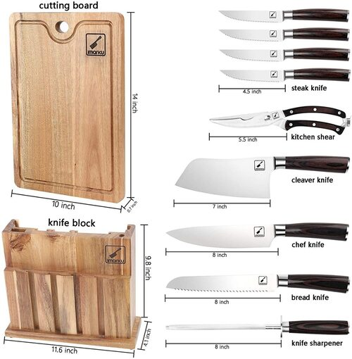 imarku 11 pieces Knives Set with Block and Cutting Board