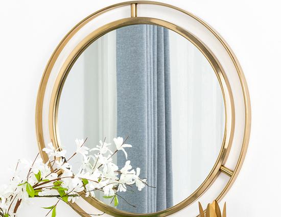 Glitzhome Decorative Contemporary Round Gold Finish Metal Wall Mirror