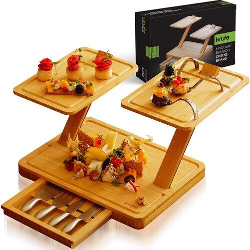 KRUFE 3 piece Modular 100% Bamboo No Tool Needed Cheese Board