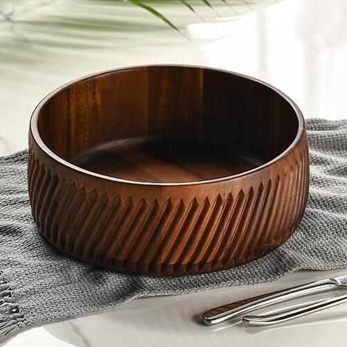 Natural Hand Carved Wooden Salad Bowl