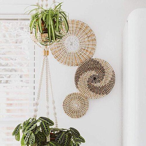 The Flower Bungalow Rattan Round Hanging Boho Basket Handmade Wall Decor