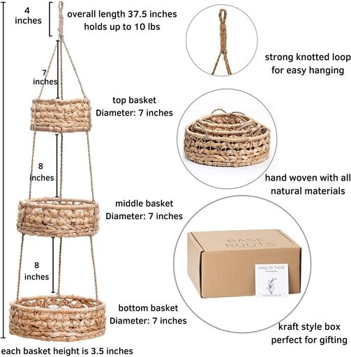 BASE ROOTS Woven Wicker Seagrass 3 tier Versatile Hanging Fruit Basket for Kitchen Decor