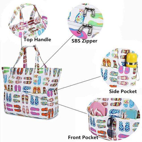 BLUBOON Beach Tote Bag with Waterproof Interior Pocket