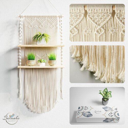 Boxanho Macrame Wood and Cotton Wall Hanging Floating Shelf Home Decor