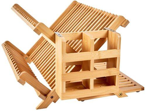 NOVAYEAH Foldable Bamboo 3 Tier Kitchen Dish Drying Rack