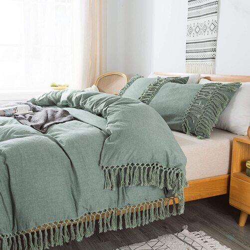 Brandream 100% washed Cotton Green Tassel Bedding