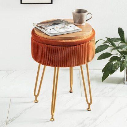 LUE BONA Modern Velvet Round Pleated Ottoman Foot Rest with Storage Space