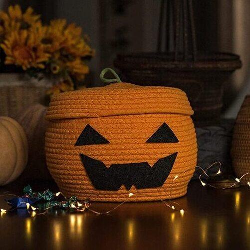 Lixinju Cotton Rope Woven Decorative Orange Pumpkin Halloween Round Basket with Lid