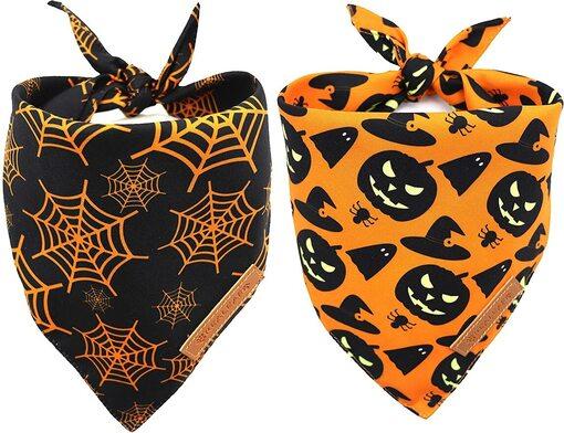 Realeaf 2 pcs Halloween Pattern Pumpkin and Spider Web Dog Bandanas
