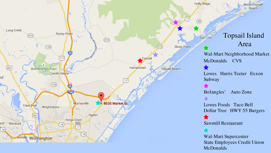 Nc Area Map Topsail